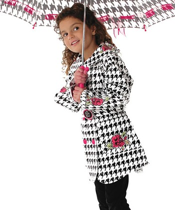 Black The English Roses Houndstooth Raincoat - Toddler & Kids