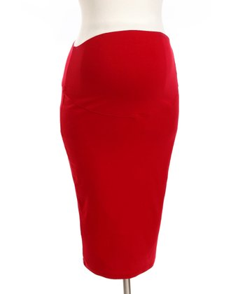 Brody & Cole Red Slimline Maternity Pencil Skirt