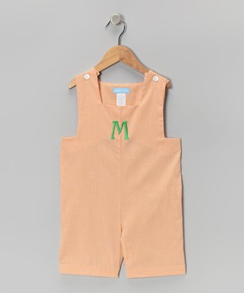 Orange Gingham Initial Shortalls - Toddler