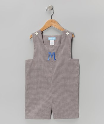 Brown Gingham Initial Shortalls - Infant & Toddler