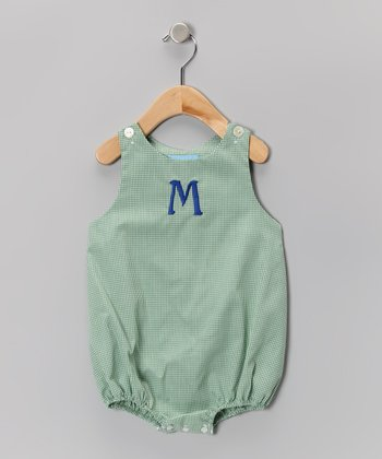 Green Gingham Initial Bubble Bodysuit - Infant