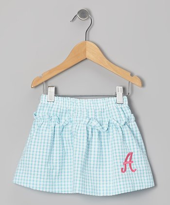 Aqua Gingham Seersucker Initial Skirt - Toddler & Girls