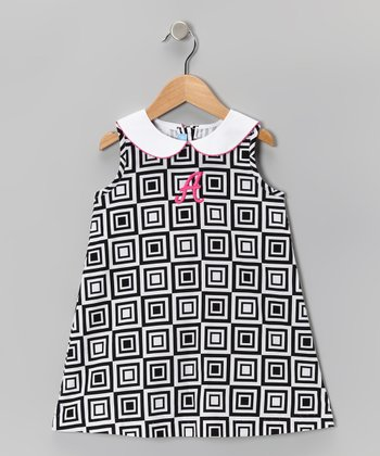 Black & White Cube Initial Dress - Toddler & Girls