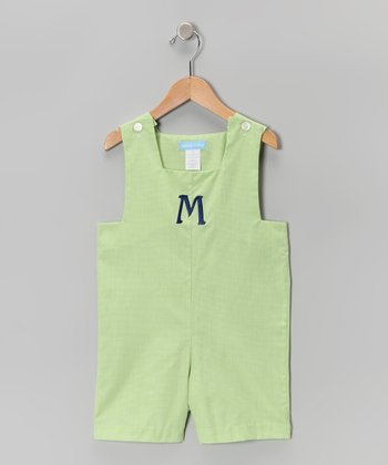 Lime Gingham Initial Shortalls - Toddler