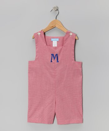 Red Gingham Initial Shortalls - Infant & Toddler