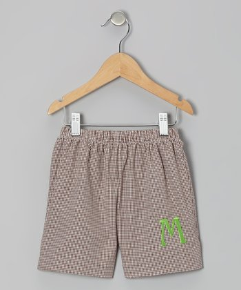 Brown Gingham Initial Shorts - Infant & Kids