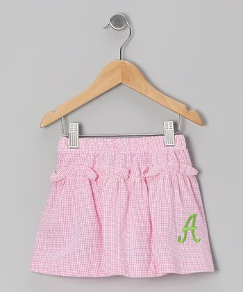 Pink Gingham Seersucker Initial Skirt - Girls