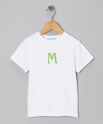 White & Green Initial Tee - Boys