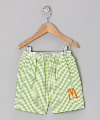 Lime Gingham Seersucker Initial Shorts - Infant & Kids