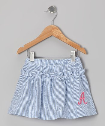 Royal Stripe Seersucker Initial Skirt - Toddler & Girls
