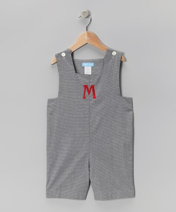 Black Gingham Initial Shortalls - Toddler