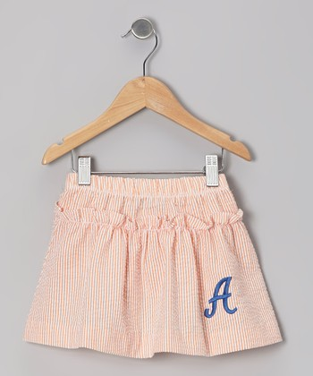 Orange Stripe Seersucker Initial Skirt - Toddler & Girls