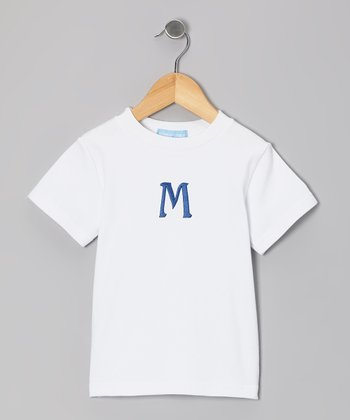 White & Royal Initial Tee - Kids