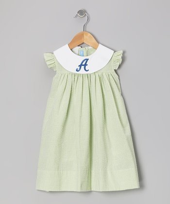 Lime Stripe Seersucker Initial Dress - Infant & Toddler