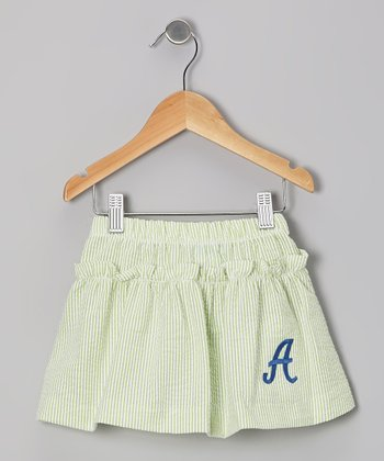 Lime Stripe Seersucker Initial Skirt - Toddler & Girls