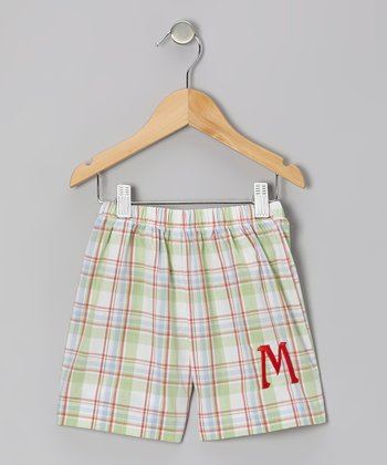 Green Plaid Initial Shorts - Infant & Kids