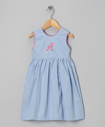 Blue Gingham Initial Dress - Toddler & Girls