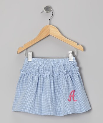 Blue Gingham Initial Skirt - Toddler & Girls