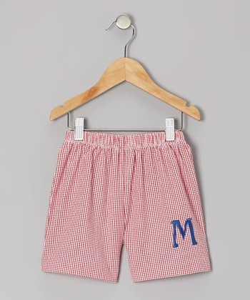 Red Gingham Seersucker Initial Shorts - Kids