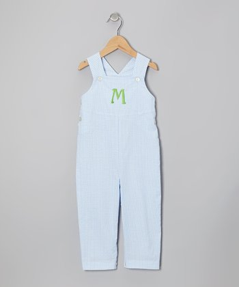 Light Blue Gingham Seersucker Initial Overalls - Infant & Toddler