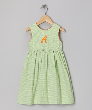 Lime Gingham Seersucker Initial Dress - Toddler & Girls