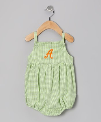 Lime Gingham Seersucker Initial Knot Bubble Bodysuit - Infant