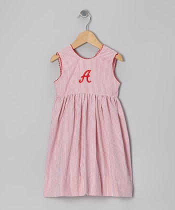 Red Stripe Seersucker Initial Dress - Toddler & Girls