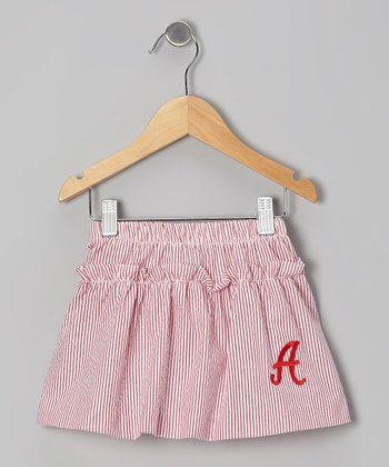Red Stripe Seersucker Initial Skirt - Toddler & Girls