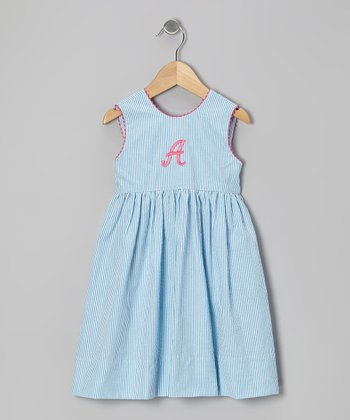 Turquoise Stripe Seersucker Initial Dress - Toddler & Girls