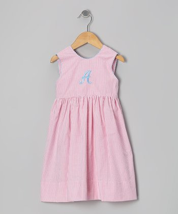Pink Stripe Seersucker Initial Dress - Toddler & Girls