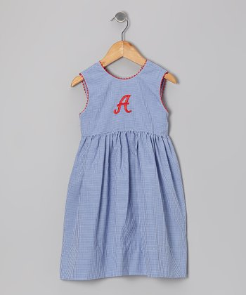 Royal Gingham Initial Dress - Toddler & Girls