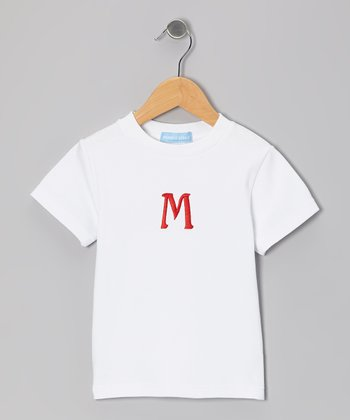 White & Red Initial Tee - Infant & Kids