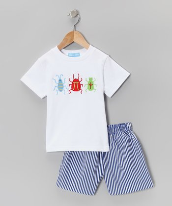 White Bug Tee & Blue Stripe Shorts - Infant & Toddler