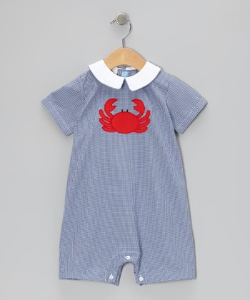 Navy Gingham Crab Bubble Romper - Infant