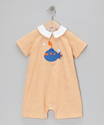 Orange Gingham Submarine Bubble Romper - Infant