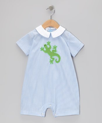 Blue Stripe Lizard Bubble Romper - Infant