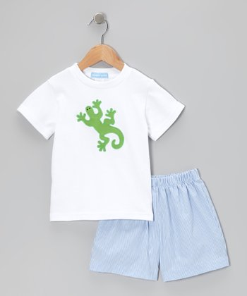 White Lizard Tee & Blue Stripe Shorts - Toddler & Boys