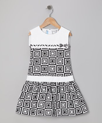 Black & White Cubic Sailor Dress - Girls