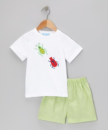 White Bugs Tee & Green Gingham Shorts - Toddler & Boys
