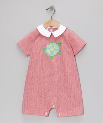 Red Gingham Turtle Bubble Romper - Infant