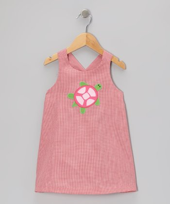 Red Gingham Sea Turtle A-Line Dress - Toddler & Girls