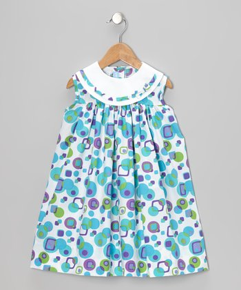 White & Turquoise Square & Dot Float Dress - Infant & Toddler