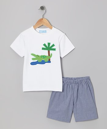 White Alligator Tee & Navy Gingham Shorts - Toddler & Boys
