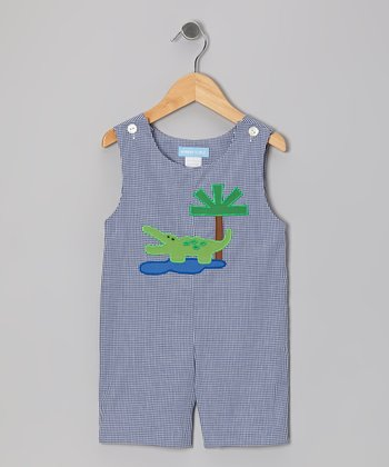 Navy Gingham Alligator Shortalls - Infant & Toddler