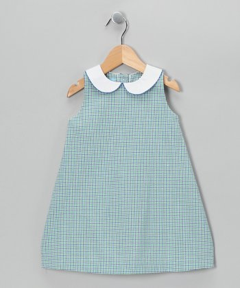 Royal Blue & Green A-Line Dress - Toddler
