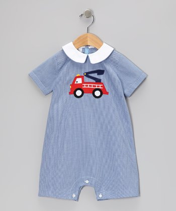 Navy Gingham Fire Truck Bubble Romper - Infant