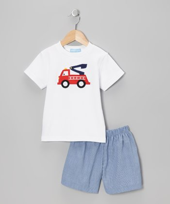 White Fire Truck & Navy Gingham Shorts - Boys