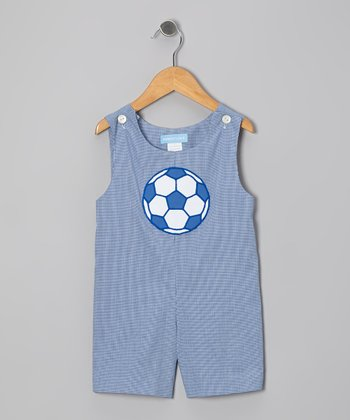 Navy Gingham Soccer Shortalls - Infant & Toddler