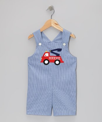 Navy Gingham Fire Truck Shortalls - Infant & Toddler