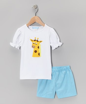 White Giraffe Puff-Sleeve Tee & Shorts - Infant, Toddler & Girls